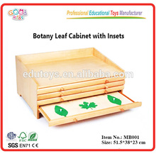 Montessori Preschool Teaching Materials Botany Leaf Cabinet with Insets Wooden Toys