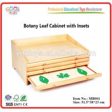 Montessori pré escolar Materiais didáticos Botânica Folha Gabinete com inserções Brinquedos de madeira