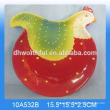 Lovely animal design ceramic rooster plate