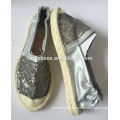PU leather espadrille shoes sequin upper with elastic slip on rubber jute sole