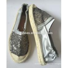 PU couro espadrilha sapatos sequin superior com deslizamento elástico em sola de borracha de juta