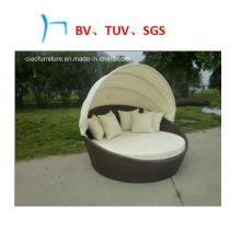 Mobília exterior do Rattan da mobília com a cama de dia do lazer do dossel (GB-10)