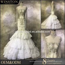 2015 Os mais populares vestidos de casamento de penas de pavão