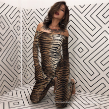C3700 2019 Women sexy fashion tiger printing off shoulder long sleeve  bodycon jumpsuit leopard printing women jumpsuit O neck