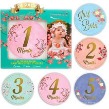 Hochwertige Schwangerschaftsbabymonat 1-12 monatliche Meilensteinaufkleber des Babys