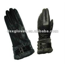 Кожаные перчатки высокого качества с мехом на запястье