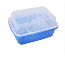 Cremalheira plástica sanitária do prato da cozinha com tampa