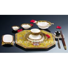 Lujo fina porcelana china de hueso vajilla real conjunto con calcomanías