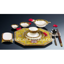 Luxury fine porcelain bone china royal dinnerware set with decals