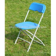 Chaise pliante en métal bleu