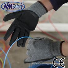 Revestimiento de polycotton reciclado gris barato de NMSAFETY 10 con guantes de construcción baratos de látex negro arruga