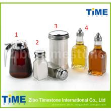 Botella de aceite hermética cristalina de la salsa de sal