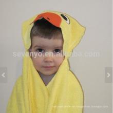 Duck Hooded Towel - leuchtend gelbe Ente mit orangefarbenen Akzenten, 100% Baumwolle, super weich und saugfähig