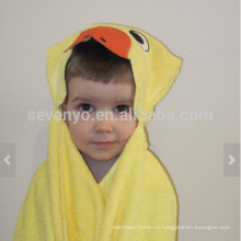 Утка полотенце с капюшоном - ярко-желтый утка с оранжевыми вставками, 100% хлопок,супер мягкий и Абсорбент