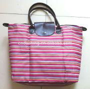 Folding stripe canvas beach tote bag wholesale