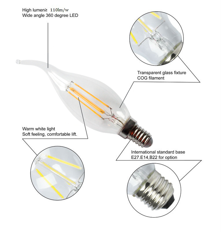 4W Led Filament Bulb Candle Light Lamp
