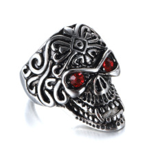 Popular jóias Zircon olhos careta anel de caveira