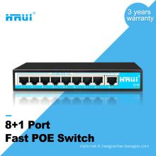 HRUI 10 / 100Mbps 250meters étendre 8 port 15.4w commutateur de poe