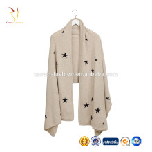 Wholesale women knitting cashmere wrap star design scarf for winter