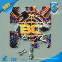 Adhesivo autoadhesivo deshuesado de la etiqueta engomada del sello de la cáscara de huevo del holograma de la aduana ZOLO