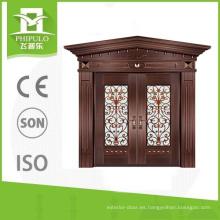 Diseños de puerta principal de lujo estilo imitación de cobre villa principal