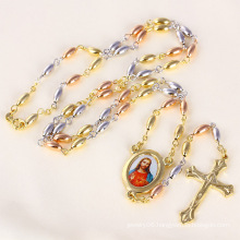 Tri-Color Jesus Cross Necklace