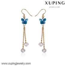 93275 Fashionable brass gold plated earring women accessories butterfly shape white diamond gold drop earrings