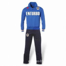 Men's Tracksuit, Made of 87% Polyester and 13% Cotton, with Embroidered Patches and Badges