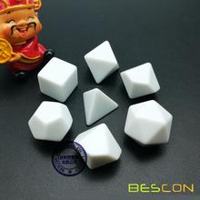 Bescon Blank Polyhedral Dice Set of 7 d4 d6 d8 d10 d12 d20 d%, Flat RPG Dice Set Without Number