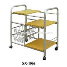 Metal Steel Pipe Removable Serving Carts with Basket