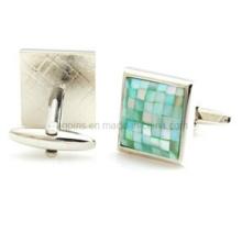 Metal Cuff Links com Pedra de Cristal