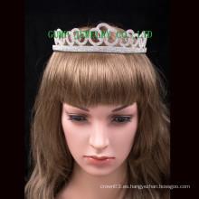 Tiara blanca cristalina del desfile de la corona caliente del rhinestone de la manera de la venta