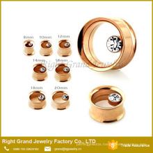 Bezel Set Gemstone In Side Rose Gold Plated Double Flared Flesh Tunnel
