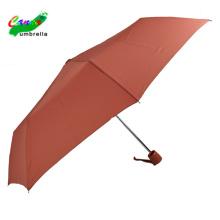Damen wasserdichtes Stoffmaterial 3 faltbarer burgunderfarbener Regenschirm mit Tasche