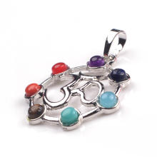 Silver Cage Pendant Color 7 Chakra Gemstone Yoga Pendant Wholesale