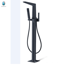 Grifo de bañera independiente de la cascada del negro mate del nuevo diseño para la venta