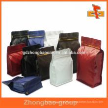 Lebensmittelqualität Kunststoff farbige Zipptasche mit Boxboden zum Verpacken