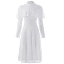 Kate Kasin Mujeres Ruffled manga larga de cuello alto encaje blanco A-Line vestido KK000505-2