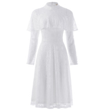 Kate Kasin Women's Ruffled Long Sleeve High Neck White Lace A-Line Dress KK000505-2