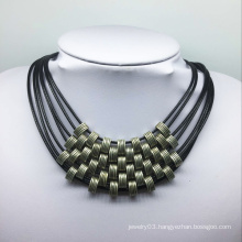Seven Roll Leather Thread Alloy Beads Necklace (XJW13773)