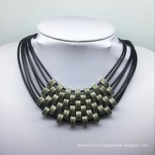 Семь крен кожаный резьба ожерелье сплава бусины (XJW13773)