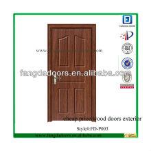Fangda haute qualité pas cher prix portes en bois extérieur