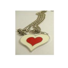 OEM Design Garment Decoration Red Heart Metal Necklace
