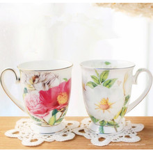 China Design de flores Casais Copo Copa de porcelana clássica Copa de cerâmica