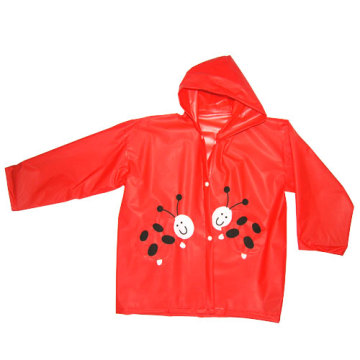 Red Lovely Girl Pvc Raincoat