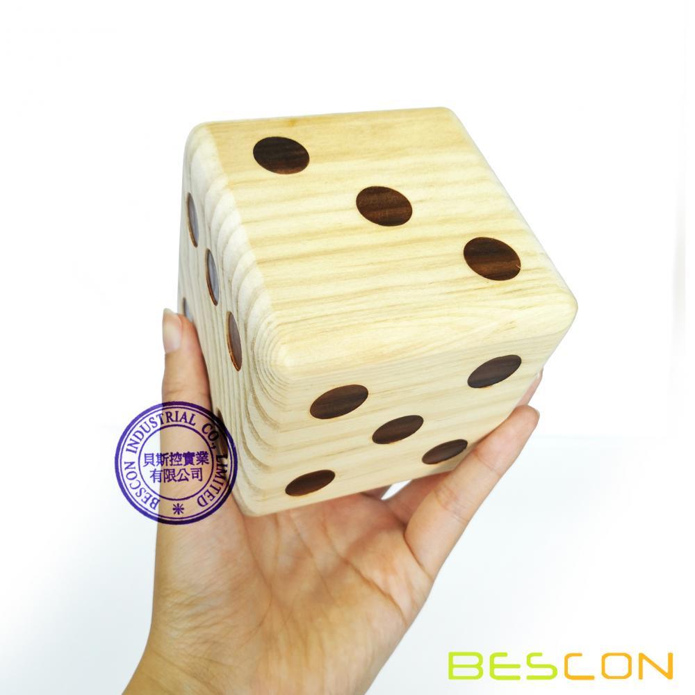 Bescon Jumbo Solid Wooden Yard Dice Set Of 6pcs Big Outdoor Gaming
