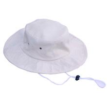 Flat wide brim Cotton Boonie Fishing Bucket Mens Safari Summer String Hat Cap
