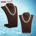 Самые последние двойные естественные ювелирные изделия ожерелья перлы пресноводного барокко пресноводные (E130114)