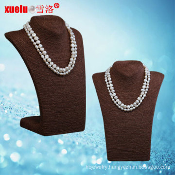 Latest Double Natural Baroque Freshwater Pearl Necklace Jewelry (E130114)