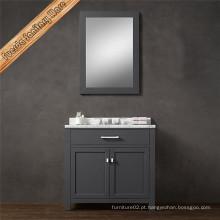 Vaia de banheiro moderno com lavatório único com acabamento cinza